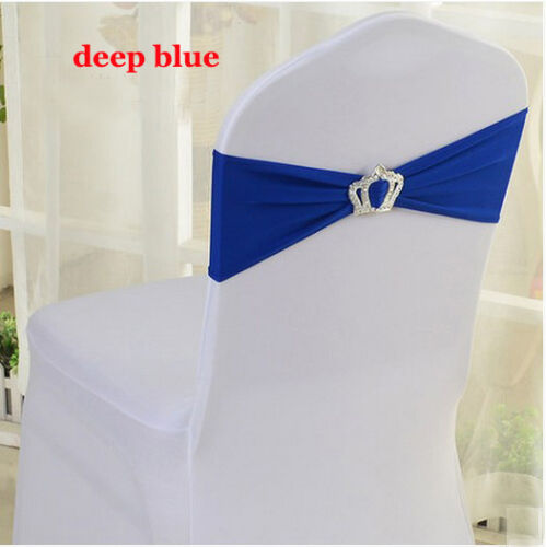 1//50pcs Lycra Spandex Stretch Wedding Event Chair Cover Band Sashes Crown Buckle