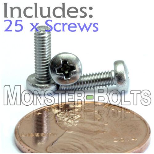 Stainless Steel Phillips Pan Head Machine Screws DIN 7985 Qty 25 M2.5 x 8mm