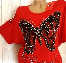 Damen Shirt Tunika Longshirt Oberteil Butterfly kurzarm Oversize pink 46 48 50