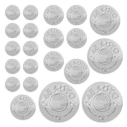 21 Premium Domed Round 3M Decal Sticker Set SILVER 45 AUTO 072