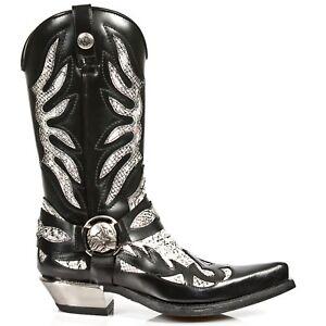 s3 M con Botas New Rock Western Mens Cowboy de Piton cremallera Black cuero 7991 White FwvIOv4Eq