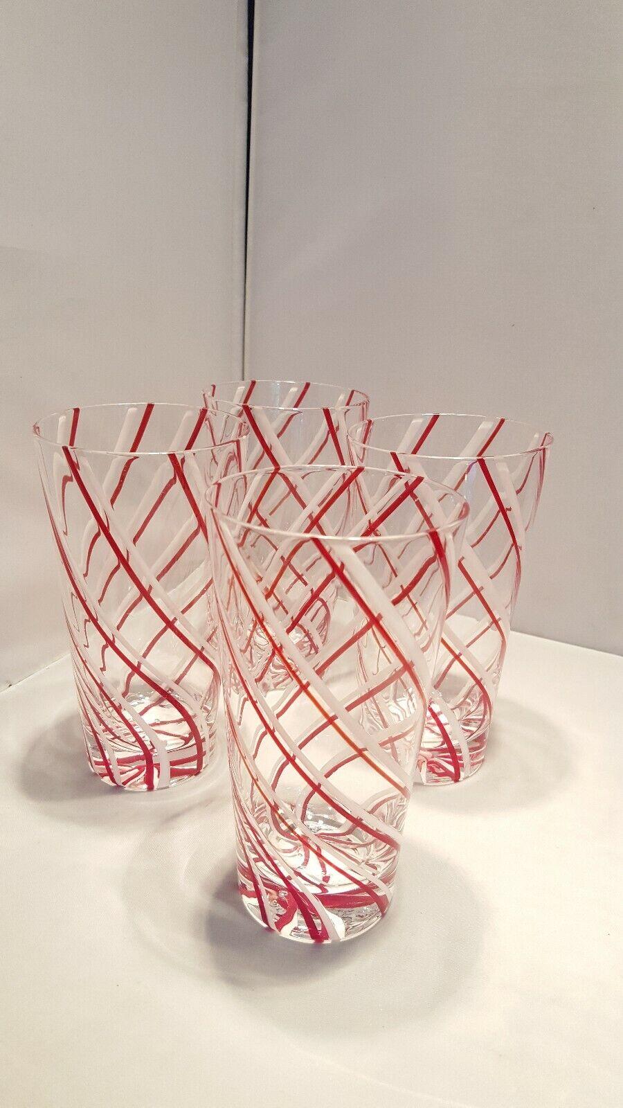 RARE Mignon Faget Set of 4 Art Glass Highball Glasses rot & Weiß Swirl Design