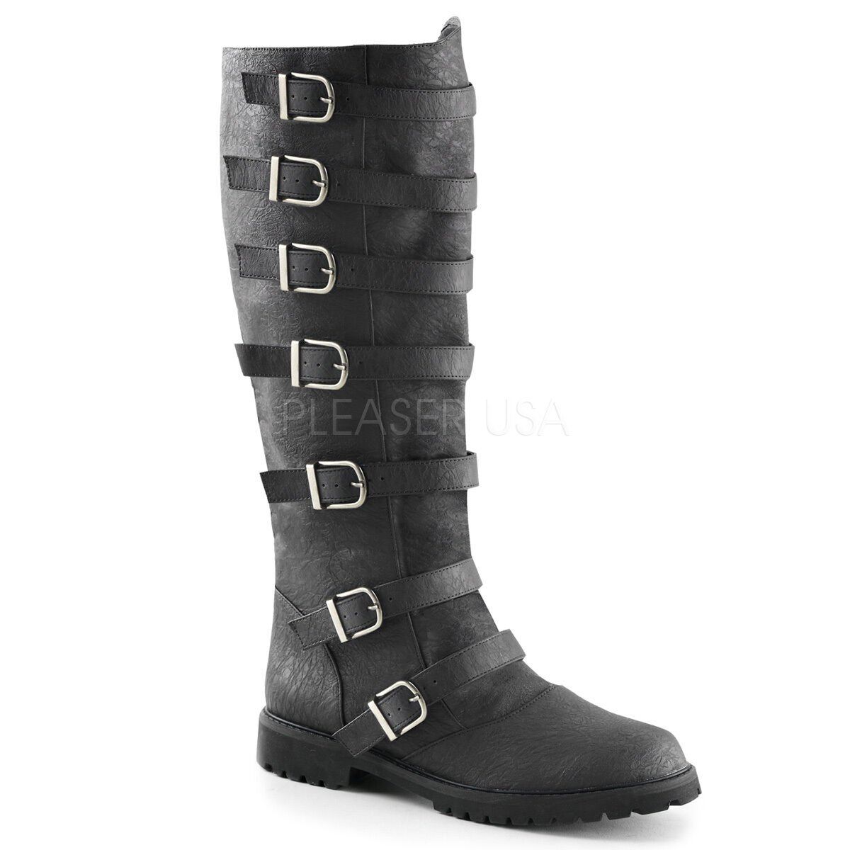 Black Steampunk Burner Boots Buckles Space Pirate Medieval Costume Mens 9 10 11
