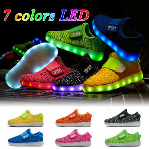 UK HOT LED Light Up Luminous Shoes Kids Toddler Infants Trainers Boys Girls