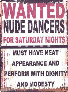 WANTED-NUDE-DANCERS-METAL-SIGN-RETRO-VINTAGE-STYLE-bar-garage-funny-man-cave