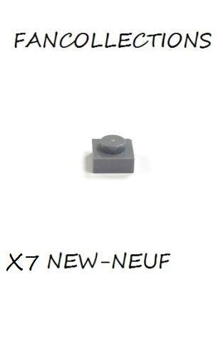 LEGO x 7 Dark Bluish Gray Plate 1x1-3024 NEUF