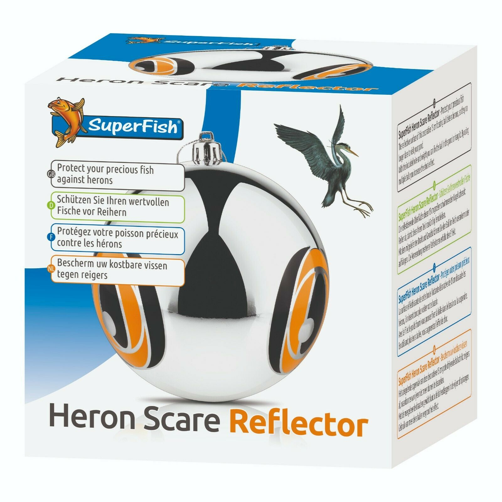 Superfish HERON SCARE REFLECTOR Garden Pond Protector Deterrent Floating Ball