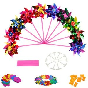 10pcs Plastic Windmill Pinwheel Wind Spinner Kids Toy Lawn