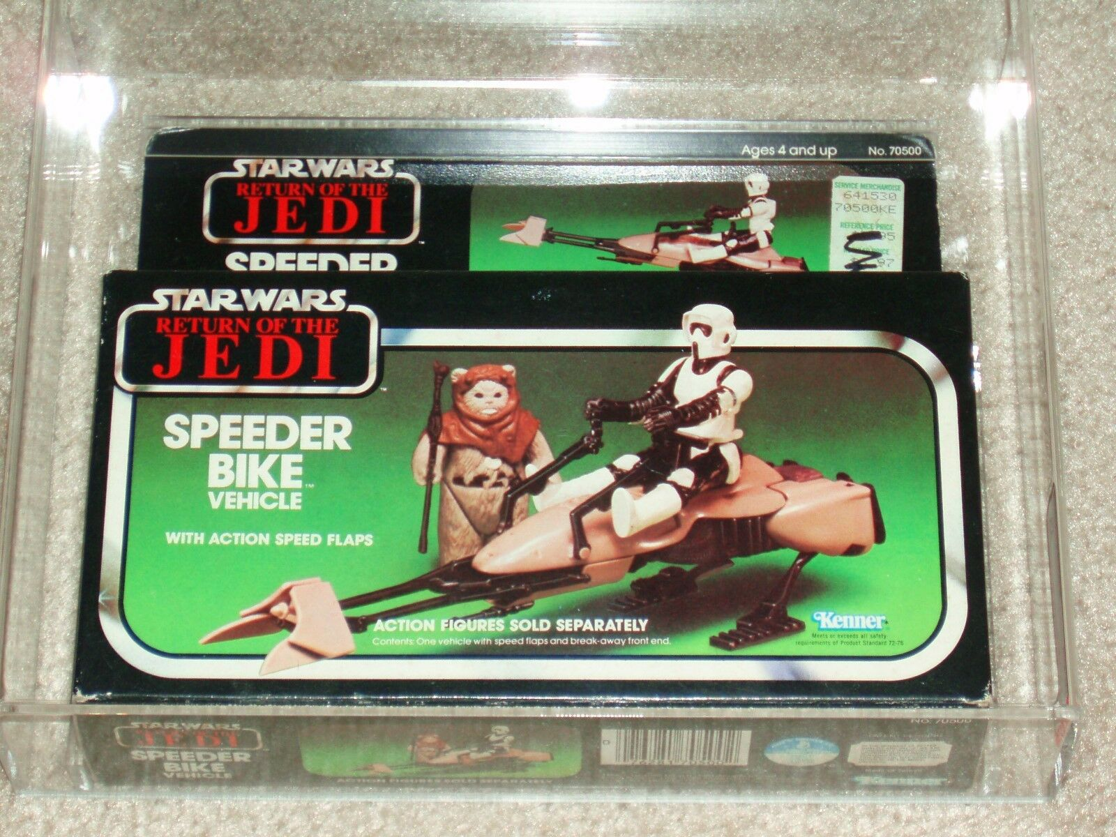 Vintage Star Wars 1983 kenner AFA 80 SPEEDER BIKE Vehicle ROTJ MISB Sealed Box