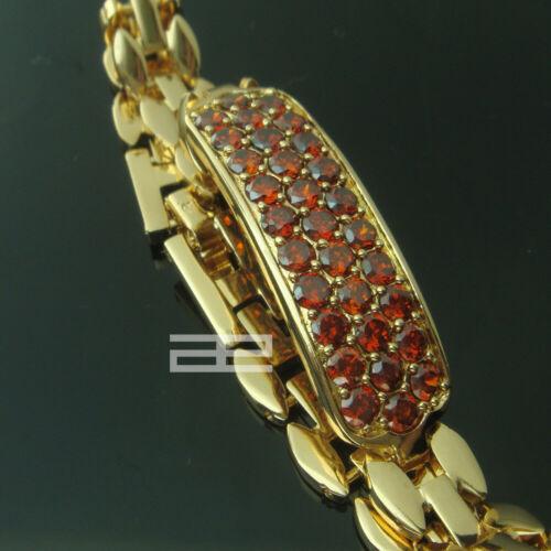 Noble Womens 18k Gold Filled Red CRYSTAL Bracelet b123