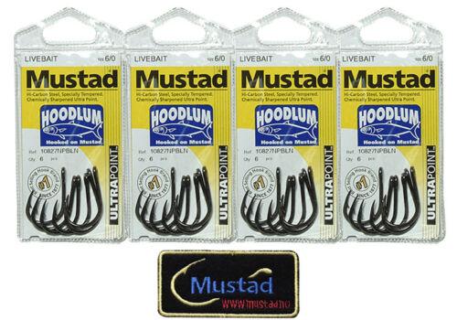 24 Mustad 10827NPBLN Hoodlum 6//0 Assist Jigging LiveBait hook Mustad Patch