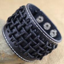 Rock Punk Wide PU Leather Men's Wrist Band Hemp Weave Bracelet Cuff Bangle New