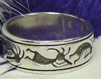 """Engraveable HOPI DANCER Sterling Silver 0.925 - 5/16"""" wide band Ring size 6.5"""