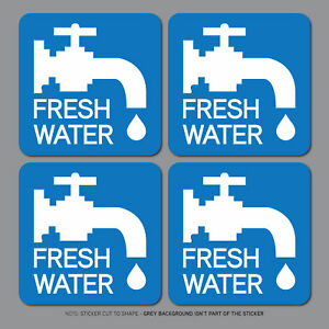 4-x-Fresh-Water-Stickers-Caravan-Motorhome-Campsite-Sink-60mm-x-60mm-SKU2656