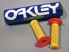 Vintage Old School, Original 1980's Oakley F1, Red/Yellow BMX Bicycle Grips