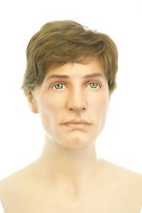 Details About Medium Golden Brown Brunette Medium Human Hair Straight Men Wig