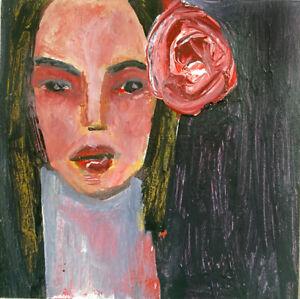 Original Outsider Art Portrait Painting Katie Jeanne Wood