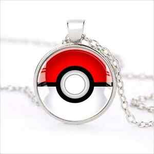 Silver-Anime-Pokemon-Pokeball-Jewelry-Glass-Dome-Pendant-Necklace-J31