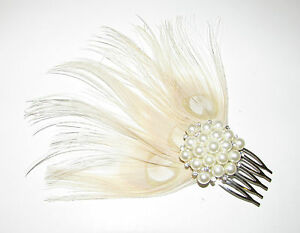 Ivory Cream Silver Pearl Peacock Feather Hair Comb Fascinator 1920s ... c8d3de26f63