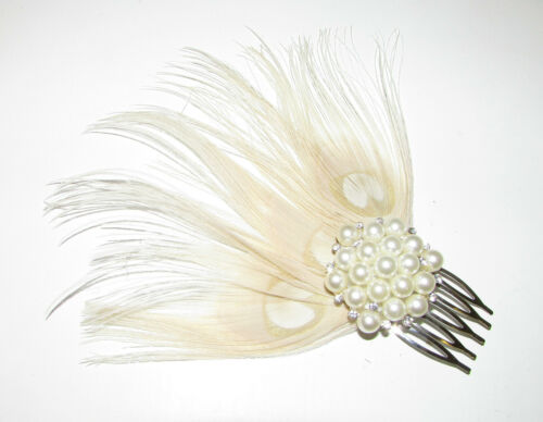Ivory Cream Silver Pearl Peacock Feather Hair Comb Fascinator 1920s Bridal A92