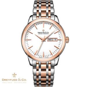 Dreyfuss-amp-Co-DGB00127-02-1890-rosegold-silber-Edelstahl-Armband-Uhr-Herren-NEU
