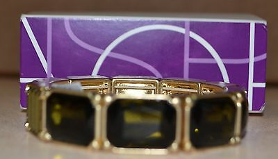 Lia Sophia Dark Green Stone Stretch Bracelet NWT Gold Metal Coloring