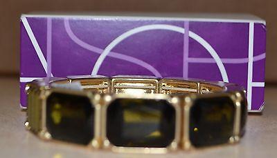 Lia Sophia Dark Green Stone Stretch Bracelet NWT Gold Metal Coloring