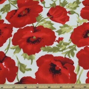 100-Cotton-Poplin-Fabric-John-Louden-Large-Red-Poppy-Floral-Poppies
