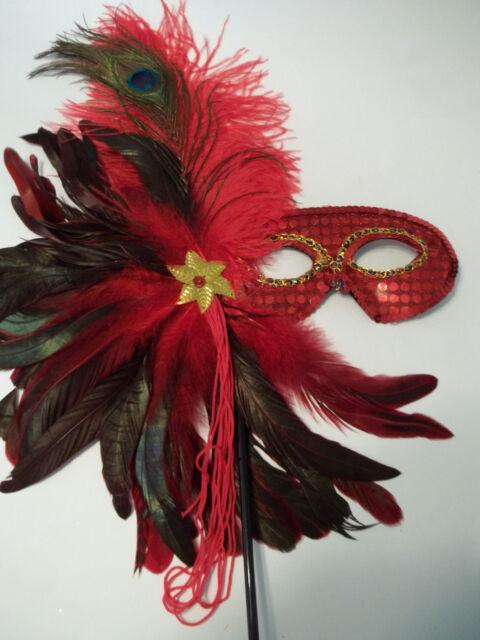 Red Feather Masquerade Ball Decor Mardi Gras Party Stick Mask