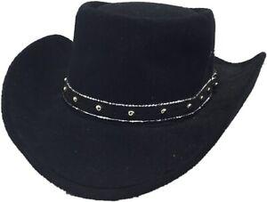 Western-Express-Black-Faux-Felt-Gambler-Cowboy-Hat-58-Size-7-1-4-Vintage
