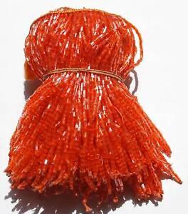 Perlfransen-10-cm-Helles-Orange-mit-Silberglanz-NEU-Bauchtanz-Orient