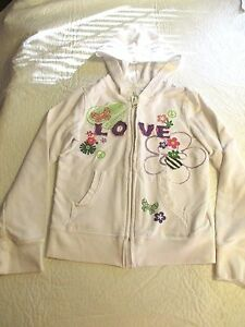 The-Childrens-Place-Girls-Bright-White-Love-Floral-Hoodie-Jacket-Size-5-6-EUC