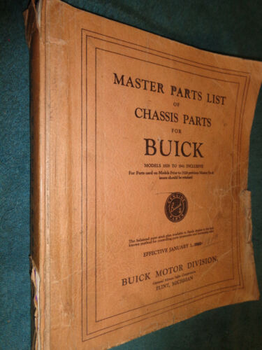 19281940 BUICK CHASSIS PARTS CATALOG ORIGINAL BOOK 40 39 38 37 36 35 34 33 32