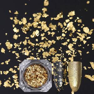 Born-Pretty-Nail-Sequins-Glitter-Paillette-Powder-Dust-Flakes-Gold-Irregular-DIY