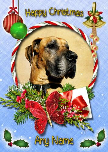Personalised Great Dane Dog Christmas Card