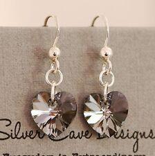 En Argent Sterling 925 Boucles D'oreille Éléments Swarovski Cristal Cœur Noir