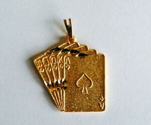 Pendant-Gold-Plated-Lucky-Deck-Of-Cards-Charm-For-Necklace-Chain-Free-Shipping