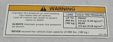 Arctic Cat Tire / Load Warning Decal for ATV 250 2006-2008