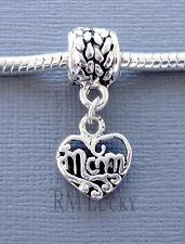 ONE Charm MOM Pendant Dangle Large Hole bead. Fits European Charm Bracelet C86