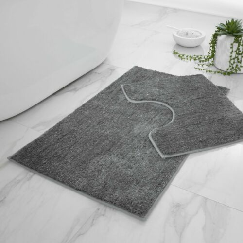 SHINY BATH /& PEDESTAL MAT Non Slip Soft Extra Absorbent Bathroom Rugs 2 PIece