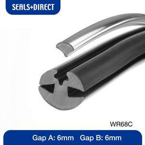 PER METRE 6MMX6MM Window Rubber in Black with Chrome Filler for Boat //Caravan