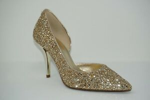 factory price sells reputable site Details about Michael Kors Nathalie Pale Gold Glitter Flex High D'Orsay  Heel Pumps