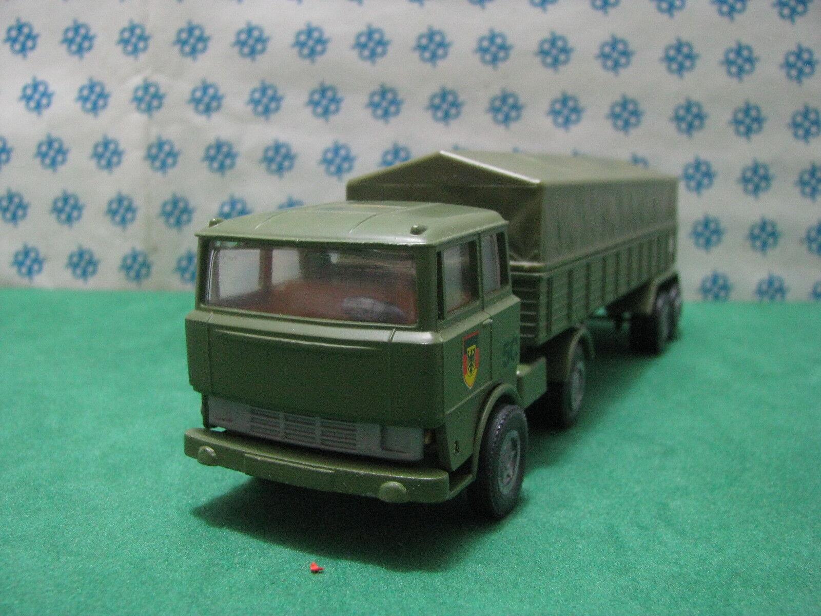 Vintage - Faun Lkw Militaire Remorque Inclinez les - Mini-Gama 921 W.Germany
