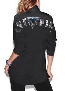 Victoria Secret PINK Varsity Quarter Snap Pullover Sweater GRAY ...