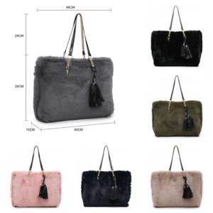 a135419d21 Women s Ladies Designer Faux Fur Shoulder Slouch Bag Buckle Bucket ...