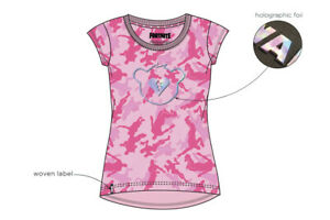 Epic-Fortnite-T-Shirt-Top-Maedchen-Camouflage-Rosa-Creepy-Bear-Gr-122-158-Neu
