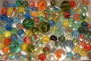 125 Vintage Classic Cats Eye Marbles Multicolor Shooters Pee-wee Standard Pretty