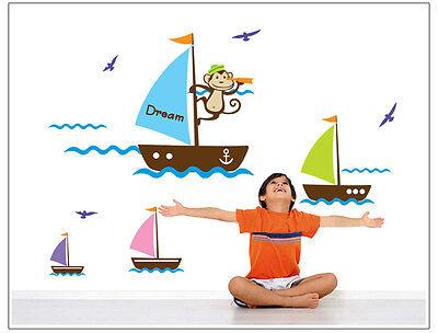 Utile Sailboat Vinile Bambini Camera Da Letto Wall Art Adesivi / Decalcomanie Parete - 7043-