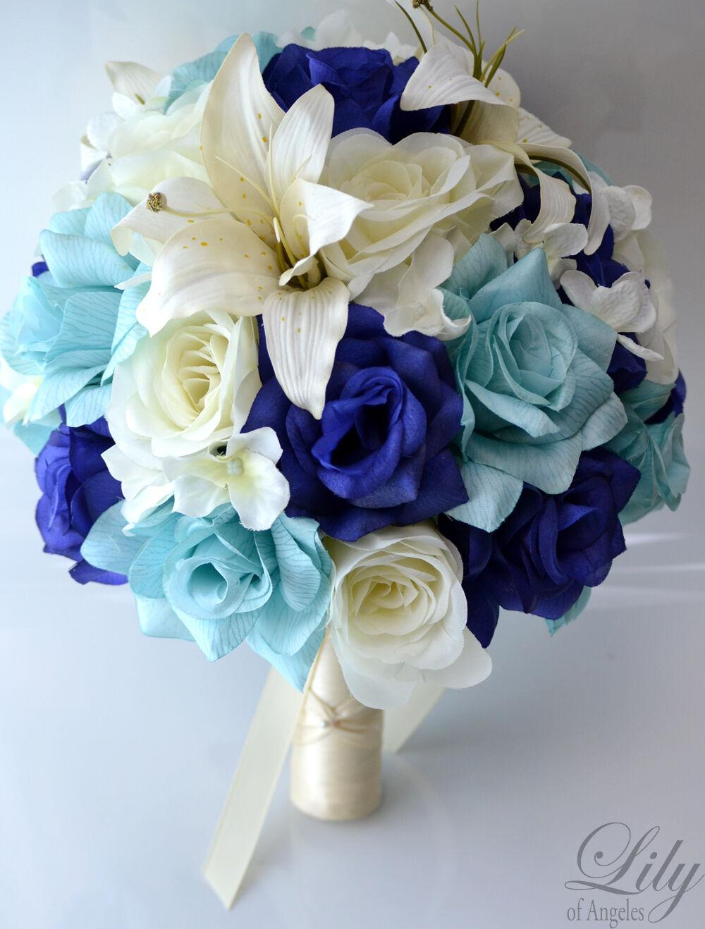 17pcs Robe de Mariage Bouquet Soie Décoration Fleur Paquet Roses Navy Aqua