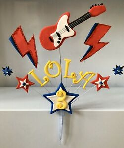 Awesome Rock Star Electric Guitar Lightening Bolt Personalised Cake Funny Birthday Cards Online Ioscodamsfinfo